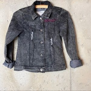 Ed Hardy Distressed Graphic Jean Jacket